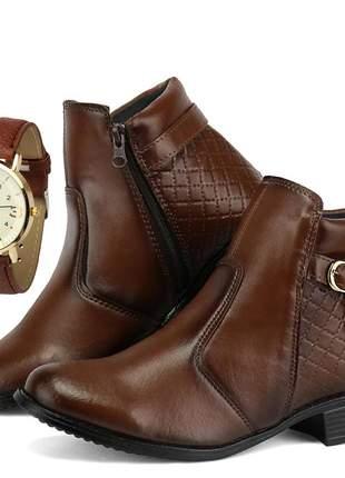 Bota cano curto feminina com relógio sapatofran