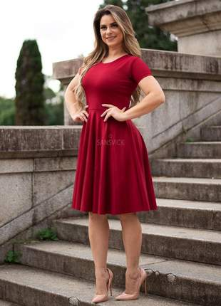 Vestido princesa godê midi lady like rodado vintage vermelho