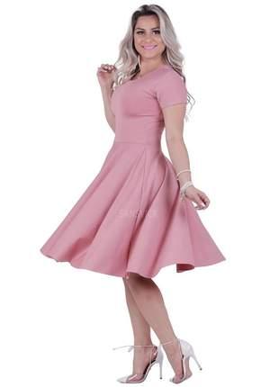 Vestido princesa godê midi lady like rodado vintage rosa nude
