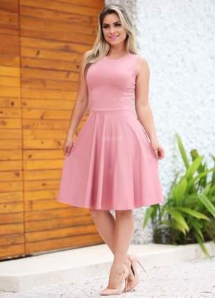 Vestido godê regata lady like rodado princesa rosa nude