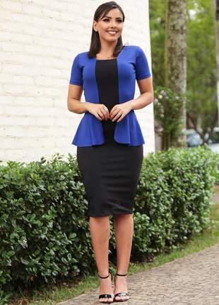 Vestido casaquinho executivo evangélico preto com azul