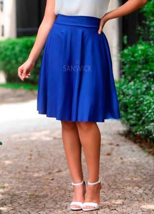 Saia midi gode rodada moda evangélica azul royal