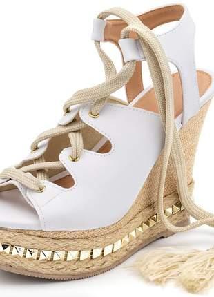 Sandália anabela salto plataforma branca com cadarço