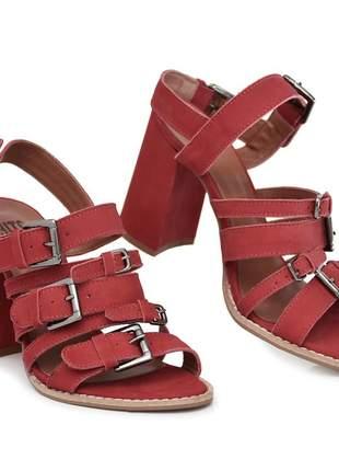 Sandália feminina salto bloco vermelha