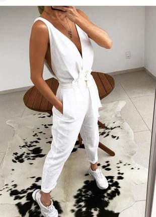 Macacão longo linho com cinto de tecido off white