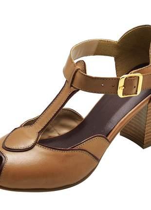 Sandália em couro sapatofran retro 3183