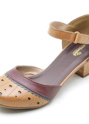 Sandália feminina sapatofran 3114 retro fivela confortável