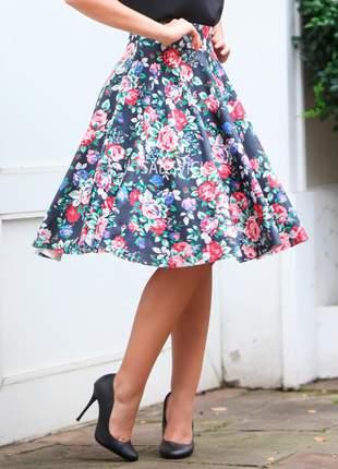 Saia midi gode rodada moda evangélica floral
