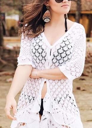 Saída banho elegance em tricot estilo vestidinho