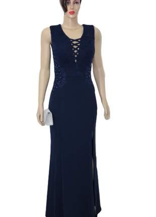 Vestido longo madrinha formatura casamento azul marinho marsala rosê