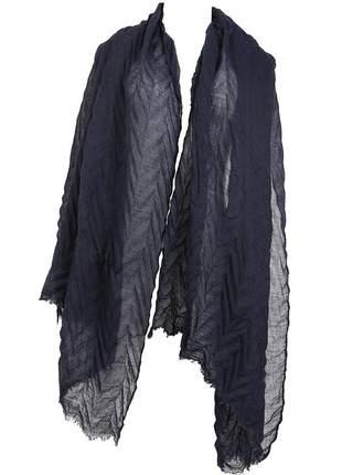 Echarpe azul marinho texturizado com toque de algodão