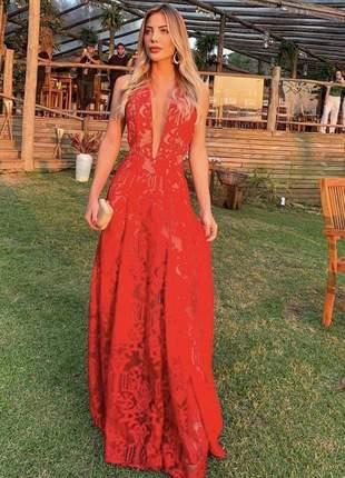 Vestido algarve vermelho casamento formatura