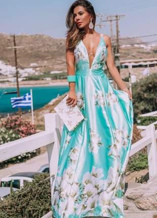 Vestido paradise floral tifany casamento dia