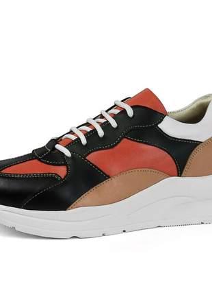 Tênis dad sneaker sapatofran confortável em couro ref 3701