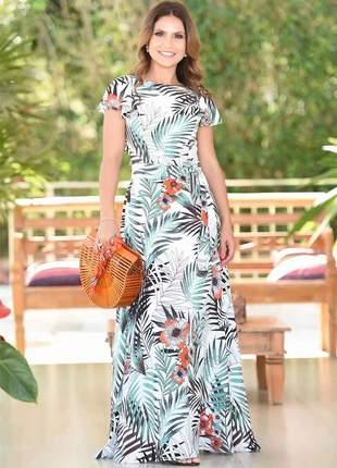 Vestido longo gode viscose babado floral roupas evangelicas