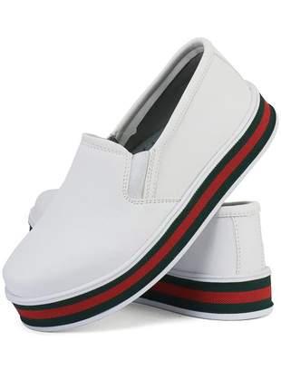 Tênis casual slip on iate sapatofran branco e vermelho ref 4038