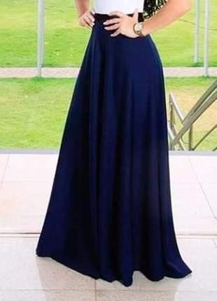 Saia longa evasê moda evangélica cintura alta azul escuro