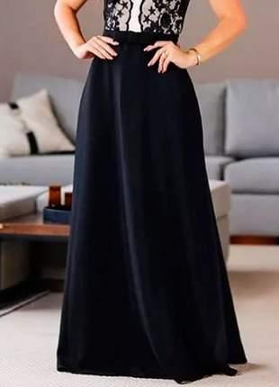 Saia longa evasê moda evangélica cintura alta preta