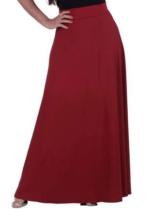 Saia longa evasê moda evangélica cintura alta vermelha