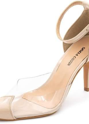 Sapato scarpin salto alto em napa verniz nude com transparência