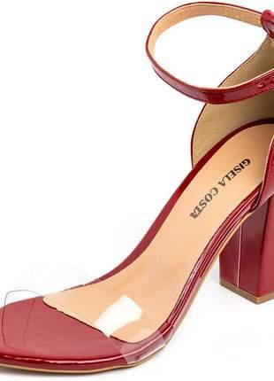 Sandália social tira transparente vermelha salto grosso verniz