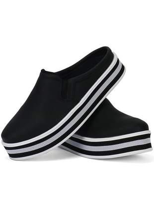 Tênis casual slip on sapatofran preto e branco ref 4040