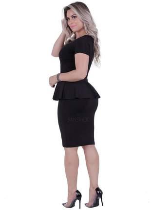 Vestido midi peplum preto manga curta