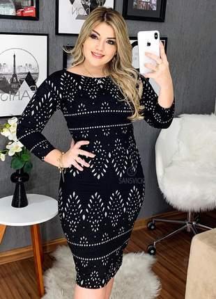 Vestido tubinho jacquard preto moda evangélica
