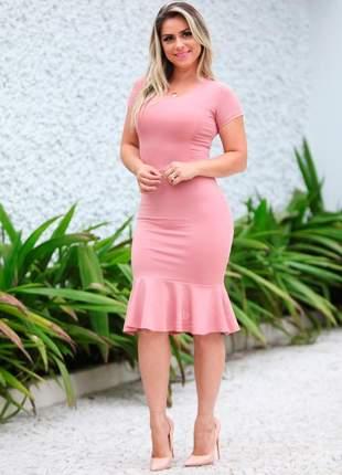 Vestido rosa tubinho moda feminina