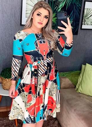 Vestido estampado digital top godê midi