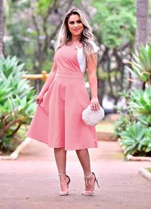 Vestido jardineira godê botões rose
