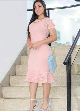 Vestido moda evangélica rosa calro modelo mídi ref 600