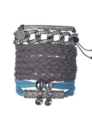 Kit de pulseiras elo em prata velha