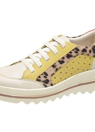 Tenis feminino em couro 3919 amarelo