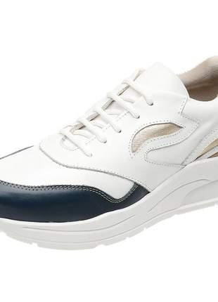 Tenis feminino em couro 3700 branco