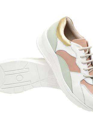 Tenis feminino em couro 3701 branco-rose
