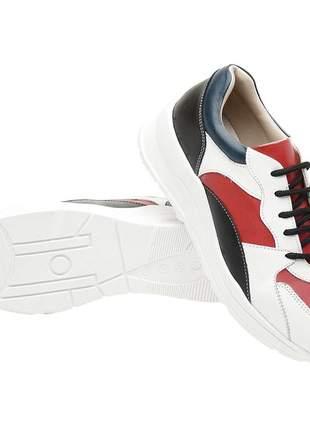 Tenis feminino em couro 3701 branco/rubi