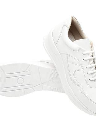 Tenis feminino em couro 3702 branco