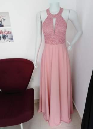 Vestido de festa rosê longo princesa luxo bojo forro brilho madrinha formanda rosa
