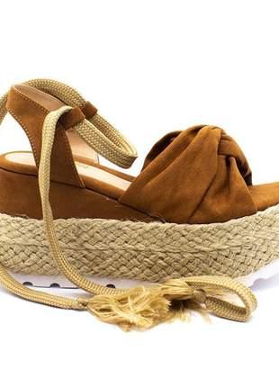Sandália feminina anabela plataforma espadrille  com amarração