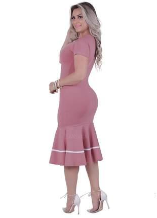 Vestido evangélico tubinho babado rosa