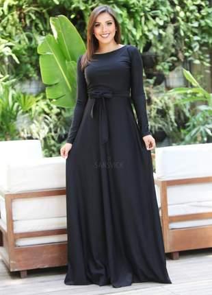 Vestido longo manga longa preto liso êvase