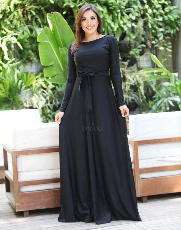 Vestido Longo Manga Longa Preto Liso êvase R 10990 Shafa O Melhor Da Moda Feminina