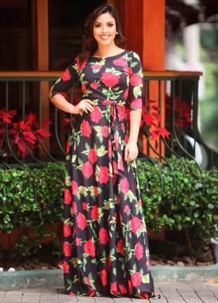 Vestido longo manga 3/4 estampado rosas fundo preto