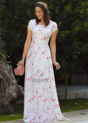 Vestido longo princesa manga curta estampado rosa princesa