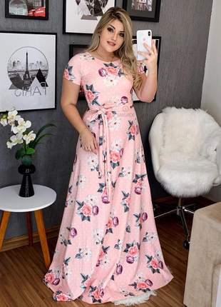 Vestido estampado flores poá rosa