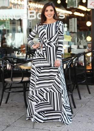 Vestido longo manga longa geométrico preto e branco