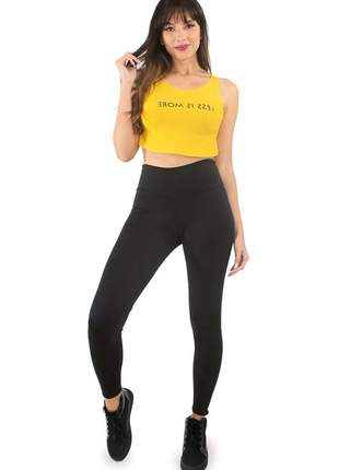 Conjunto fitness calça legging lisa e cropped estampado ref: cjn01