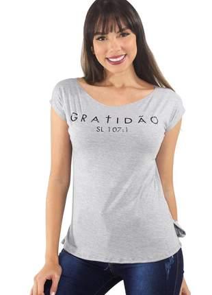 """Blusa t-shirt feminina estampada """"gratidão"""" ref: tse2"""