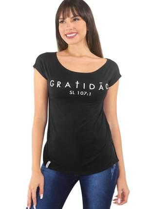 """Blusa t-shirt feminina estampada """"gratidão"""" ref: tse3"""